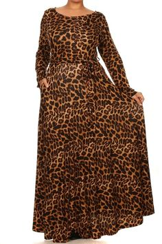 94834ea752 PLUS LEOPARD Stretch FULL SWEEP Long Skirt MAXI DRESS Pocket Modest 1X 2X  3X  tamarstreasures