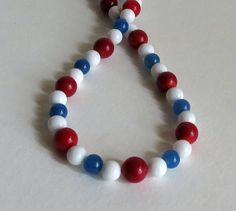 Necklace with Red Jasper White Shell Blue Agate by Smokeylady54