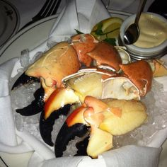 Fresh Florida Stone Crab with a tasty mustard sauce at Trulucks on 4th Street in Naples, FL. I'm told Monday's is all you can eat stone crabs, but reservations are three months out, so plan ahead.