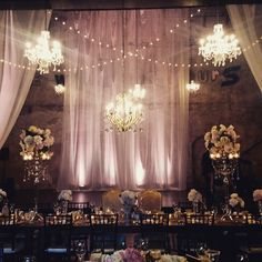 Say hello to the beauty of lighting. #chandeliers, #uplights #cafelights #candlelight ...#denicolasest2015 #PHOSEvents #PHOSlighting, farm tables brought to you by @rudyseventrentals. Floral by @marthasgardens, Styling and day of coordination @stylearchitectsweddings !