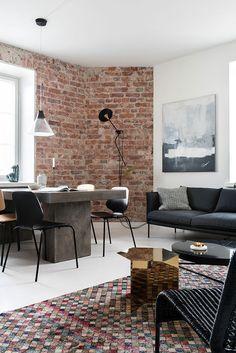 Apartment for a musci producer in Helsinki, Finland #interior #design #home #decor #idea #inspiration #cozy #style #room #minimalist #modern #loft #brick #wall #bachelor