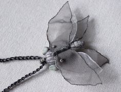 Butterfly necklace, handmade and OOAK, made of recycled fabrics, for the nature-loving fairy folks!