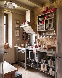 Small Kitchen Ideas - open shelving, freestanding, plate rack, hood range, industrial meets rustic