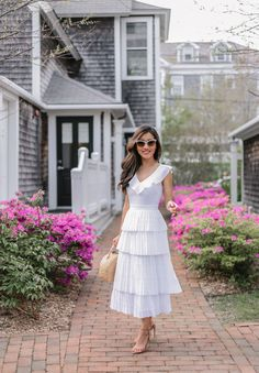 white pleated long dress (also perfect for bridal shower or rehearsal dinners) // extra petite fashion blog