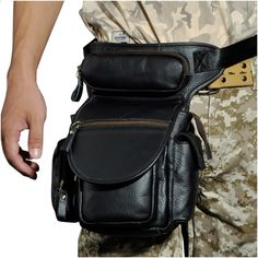 Top Quality Genuine Leather men vintage Brown Small Belt Bag Waist Pack  Drop Leg Bag Horse c3cb727758a