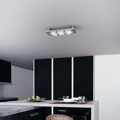 TRESOL CUBE TRIO - Plafonnier LED Argent L40cm Osram