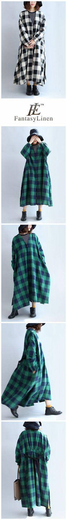 Linen Plaid V-neck Elastic Waist Loose Plus Size Women Dress  Q7138