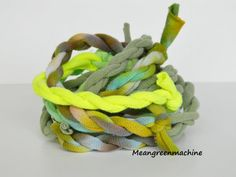 http://img0.etsystatic.com/011/0/6173556/il_570xN.447854372_ccc0.jpg Wrap Bracelet Made out of Twisted Recycled Tie Dyed T-Shirt Yarn, T Shirt Yarn