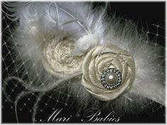 Vintage Inspired Headpiece in Ivory with Feathers  by MariBabies, $21.95