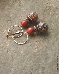 """Деревянные серьги """"Райская птичка"""" - рыжий,серьги,серьги длинные,серьги с камнями"""