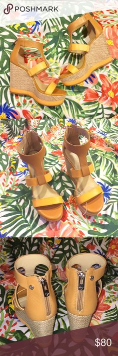 Leather Woven Wedges Perfect Summer Wedges! Tan & Orange leather Woven texture wedge – approx. 4 ½ inches tall Size 6 NWOT – never worn other than being tried on in store ☺ ANTONIO MELANI Shoes Wedges