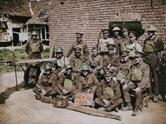 12th Battalion The Somerset Light Infantry's regimental aid post staff in France, 1918. The 12th Battalion was converted from a yeomanry regiment (West Somerset) to infantry in Egypt in January 1917, part of 229th Brigade, 74th Division. It went to France on the 30th April 1918, embarking at Alexandria for Marseilles and landing on the 7th May. (Colourised by Royston Leonard from the UK)