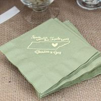 Willow cocktail napkins printed with ivory matte imprint color and custom supplied artwork
