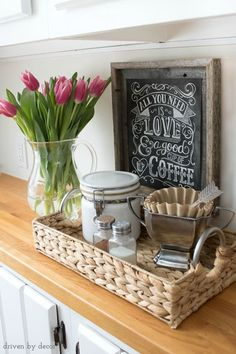 10 Favorite Etsy Art Prints Use a small tray to corral your coffee-making supplies for a simple at-home coffee station! - Style Of Coffee Bar In Kitchen Coffee Station Kitchen, Coffee Bars In Kitchen, Coffee Bar Home, Home Coffee Stations, Tea Station, Coffee Area, Coffee Corner, Coffee Cup, Decaf Coffee