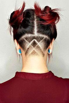 Undercut Hairstyles with Hair Tattoos for Women 24 Best Undercut Hairstyles, Undercut Long Hair, Messy Bob Hairstyles, Undercut Women, Undercut Hair Designs, Girl Undercut Design, Shaved Hair Designs, Hair Tattoos, Hair Looks