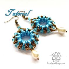 PDF Tutorial Duo-donut Earrings with SuperDuo beads adn Crystal Bicones, Instructions, Beading Pattern. English Only, Beaded Tassel Earrings, Bead Earrings, Beaded Jewelry, Jewellery, Free Beading Tutorials, Beading Patterns, Beading Ideas, Twin Beads, Super Duo