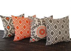 Throw pillow covers 16 x 16 Set Of Four orange by ThePillowPeople, $72.00