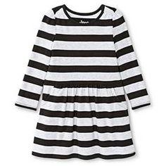 Toddler Girls' Striped Long Sleeve Knit Dress Black - Circo™ : Target