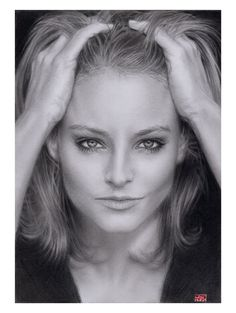 Pencil Portrait Mastery - Amazing pencil drawing of Jodie Foster - Discover The Secrets Of Drawing Realistic Pencil Portraits