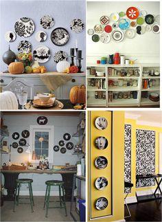 Engana-se quem pensa que decorar a parede com pratos é cafona! Fica muito legal em ambiente com decoração retrô ou moderna.        Os model...