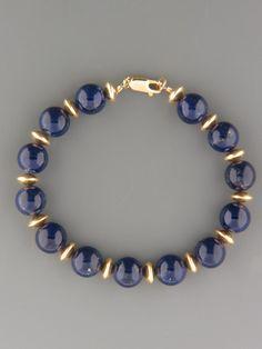 Lapis Lazuli Bracelet - 10mm round stones with gold beads