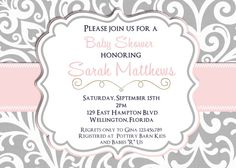 Mod Damask Pink and Gray  Baby Shower Invitation Printable Invite on Etsy, $18.00