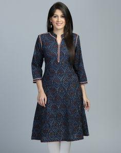 Fabindia cotton kasuti embroidery blue kurti