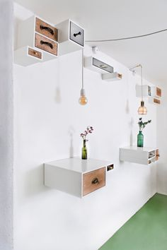 Mikkeller Bar in Denmark by Femmes Regionales - Design Milk Drawer Shelves, Box Shelves, Top Drawer, Storage Shelves, Turbulence Deco, Interior Decorating, Interior Design, Retail Design, Home And Living