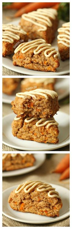 These carrot cake scones are made a little healthier with whole grains, less sugar and maple sweetened cream cheese frosting! These carrot cake scones are made a little healthier with whole grains, less sugar and maple sweetened cream cheese frosting! Just Desserts, Delicious Desserts, Dessert Recipes, Yummy Food, Dinner Recipes, Sweet Recipes, Healthy Recipes, Baking Recipes, Scone Recipes