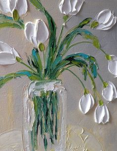 Original Impasto Oil 8x10 Classic White Tulips