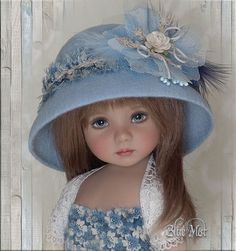 OOAK Blue Mist Hat 4 Effner Little Darling Ellowyne Prudence BJD by Linda | eBay