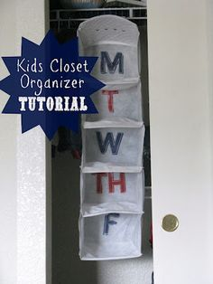 Kids-Closet-Organizer- super cute idea for picking out outfits for the week!