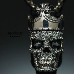Crown-Skull-King-Pendant-Necklace-Swarovski-Crystal-Hip-Hop-Mens-Unisex-Jewelry