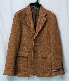 New POLO RALPH LAUREN Boys Sport Jacket Coat Brown Check Sz 8 Lambswool Alpaca | eBay