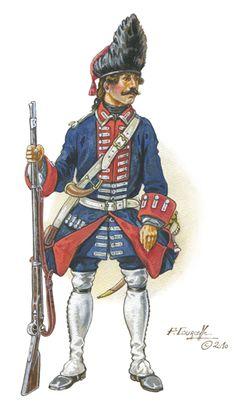 French grenadier's uniform, circa 1750.