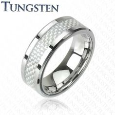 Tungsten Carbide Ring with White Carbon Fiber Center Inlay West Coast Jewelry. $20.95