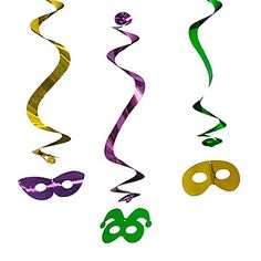These Masquerade Danglers will help complete your Mardi Gras theme. You'll get six 5 1/2 inch wide metallic mask that dangle 15 3/4 inches.