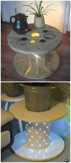 DIY Lighted Wood Spool Table Instruction - Wood Wire Spool Recycle Ideas #Furniture