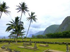 View from the cemetery at St. Philomena Church in Kalawao on Molokai's Kalaupapa Peninsula