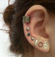 3er ohrklemme de acero inoxidable ohrclip earcuff arete plata negro Rose oro
