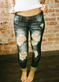 Piace Boutique - Destroyed Lowrise Skinny Jeans (Dark Wash), $47.99 (http://www.piaceboutique.com/destroyed-lowrise-skinny-jeans-dark-wash/)