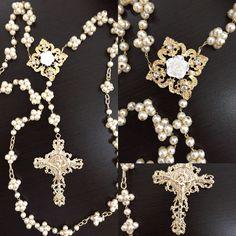 Rosario para boda de perlas Diy