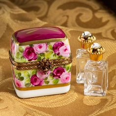 Limoges romantic roses perfume bottles with trunk box