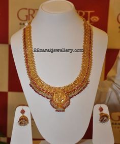 Gold Antique Haram with Pearls from Grt Jewellery | Jewellery Designs