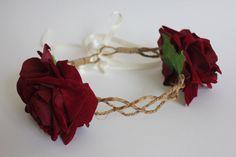 Maroon velvet flower crown rose hairband rose flower by rougepony