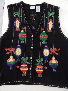 Ugly Christmas Womens XL Sweater Vest Ornaments Bows Stars Beads Jewel Gold Trim #BobbieBrooks