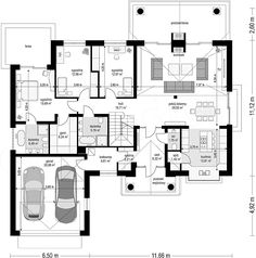 Projekt domu Willa parkowa B 145,29 m2 - koszt budowy - EXTRADOM Cute House, Good House, Dj Board, House Outside Design, Bungalow House Design, New House Plans, Design Case, Traditional House, Home Projects