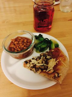 Mushroom pizza w Daiya cheese, baked beans, and miso Bok Choy With ...