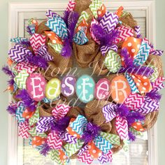 Happy Easter wreath with mesh burlap and chevron in spring colors and metal Easter egg sign Easter Wreaths, Holiday Wreaths, Holiday Crafts, Spring Wreaths, Wreath Crafts, Diy Wreath, Wreath Ideas, Burlap Wreaths, Door Wreaths