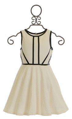 Elisa B Diamond Print Dress in Black and Ivory